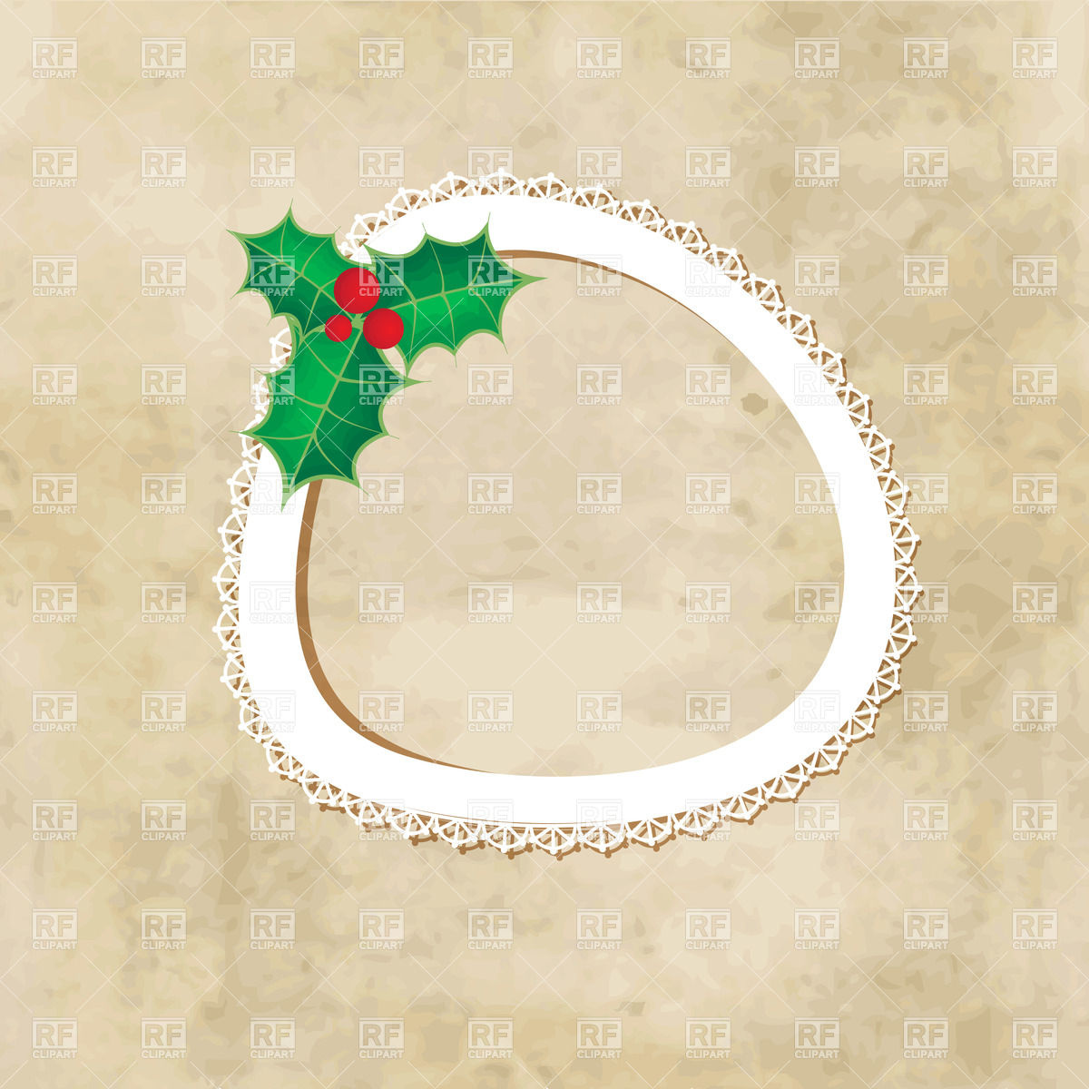 1200x1200 Christmas Background With Holly Berry Leaves And Round Frame Made