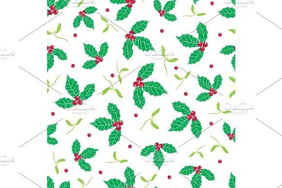 580x387 Vector Green, Red Holly Berry And Mistletoe Holiday Seamless