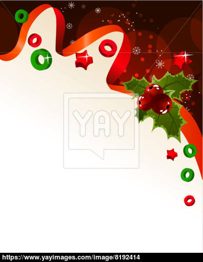 396x512 Christmas Background With Holly Berry Vector