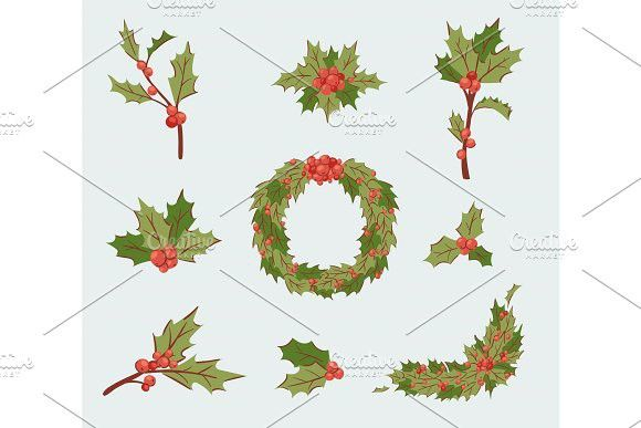 580x387 Christmas Holly Berry Decoration Vector Leaves Tree Set, Xmas