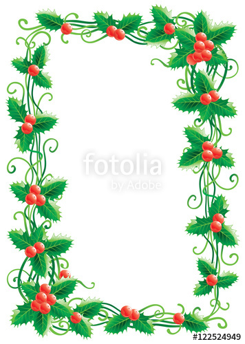356x500 Christmas Decoration With Holly. Vector Christmas Holly Border