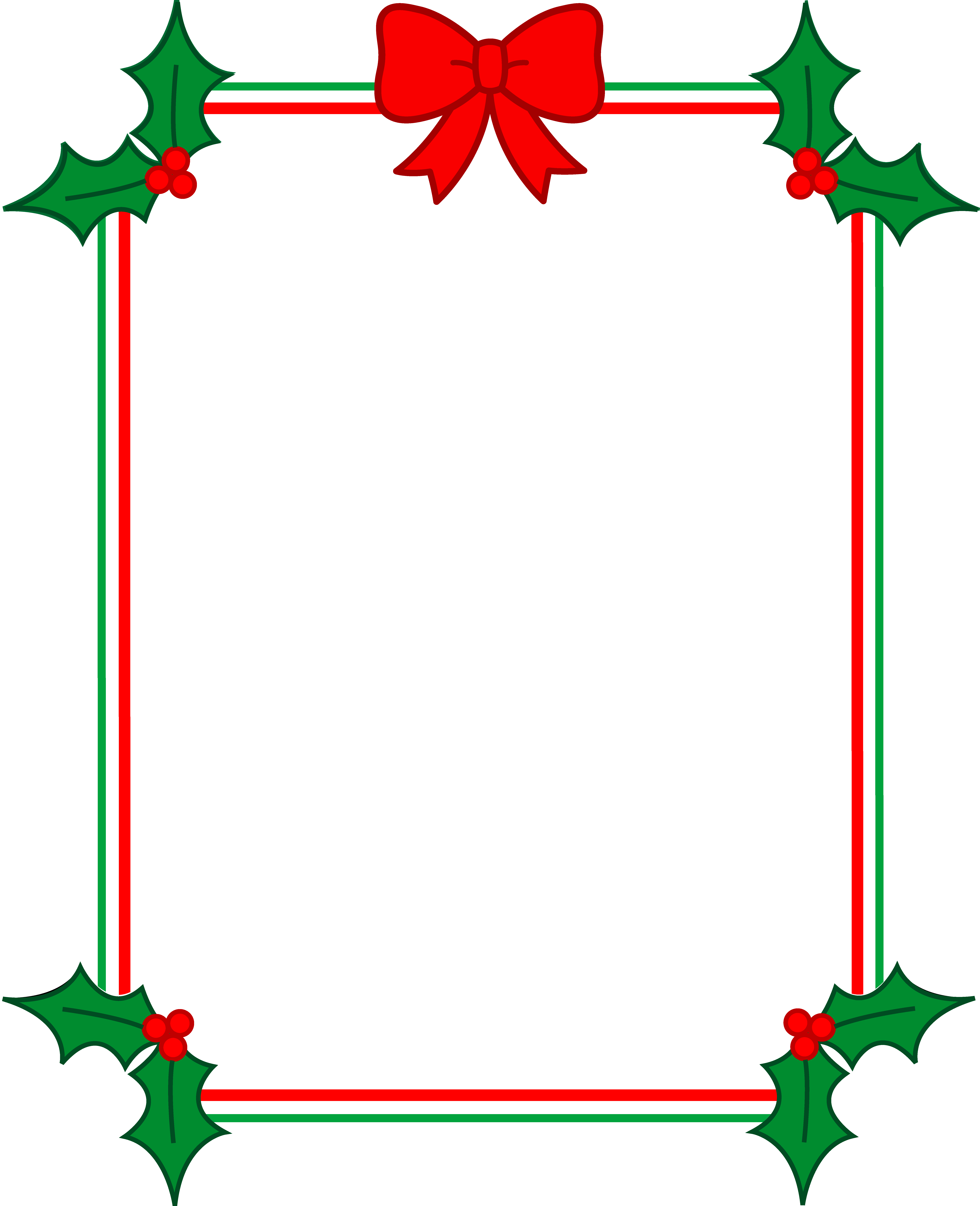 7018x8636 Christmas Holly Border Picture Transparent