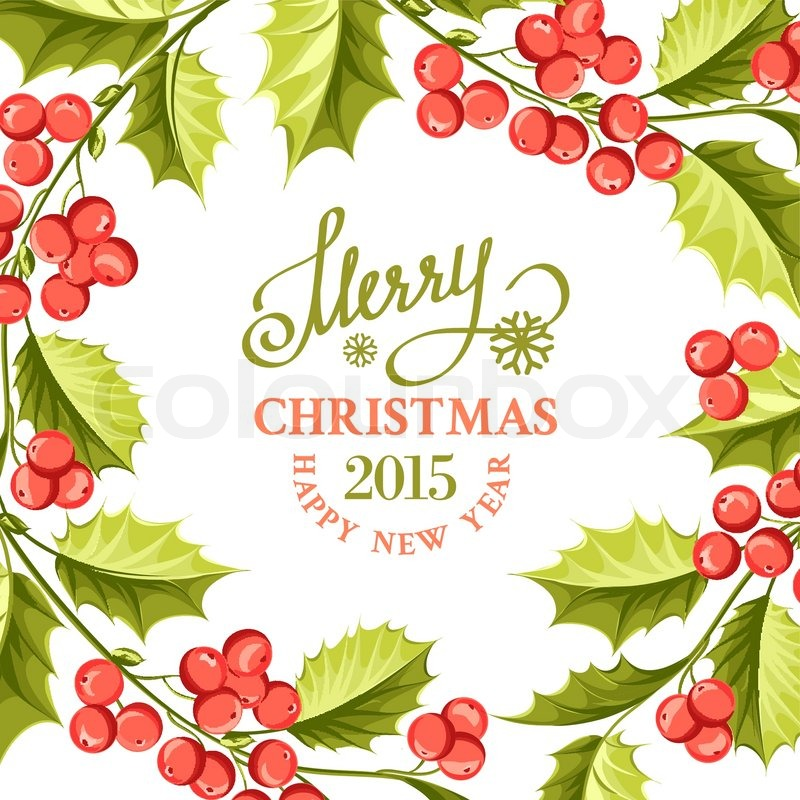 800x800 Christmas Mistletoe Drawing Over Card With Holiday Text And Border