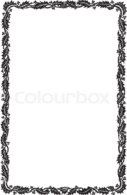 522x800 Holly Border Have Simple Narrow Pattern, Vintage Line Drawing Or