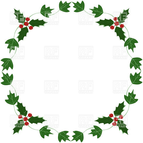 500x500 Holly And Ivy Yule Round Frame Vector Image Vector Artwork Of