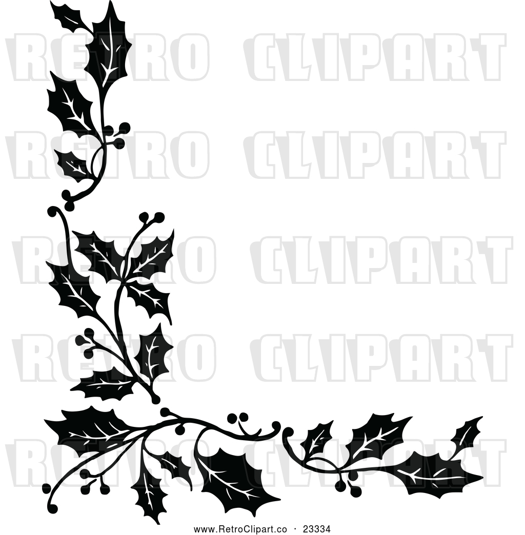 1024x1044 Vector Clip Art Of Retro Corner Border Of Christmas Holly Sprigs