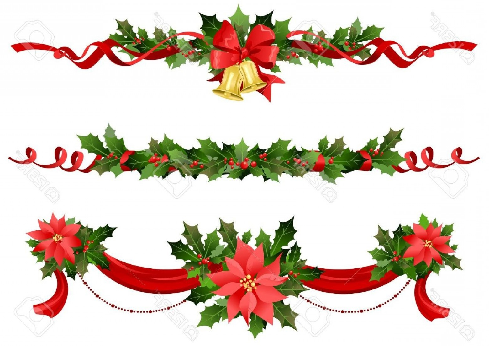 1560x1102 Christmas Border With Holly Berry Royalty Free Vector Image
