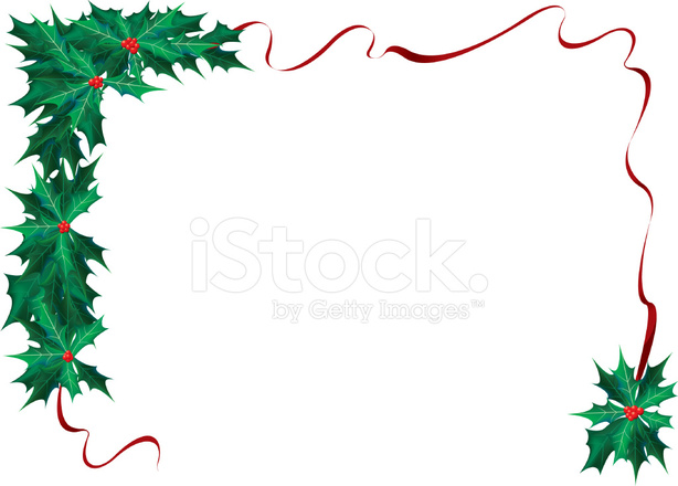 614x440 Christmas Holly Ribbon Border Stock Vector