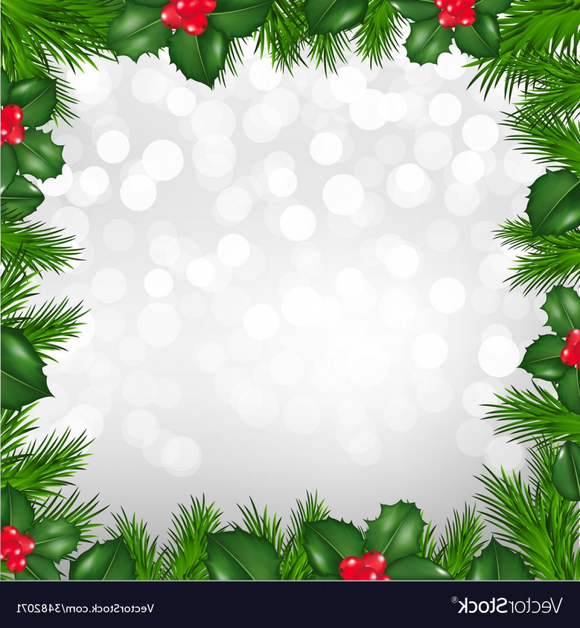 1197x1296 Christmas Silver Border From Holly Berry Vector Shopatcloth