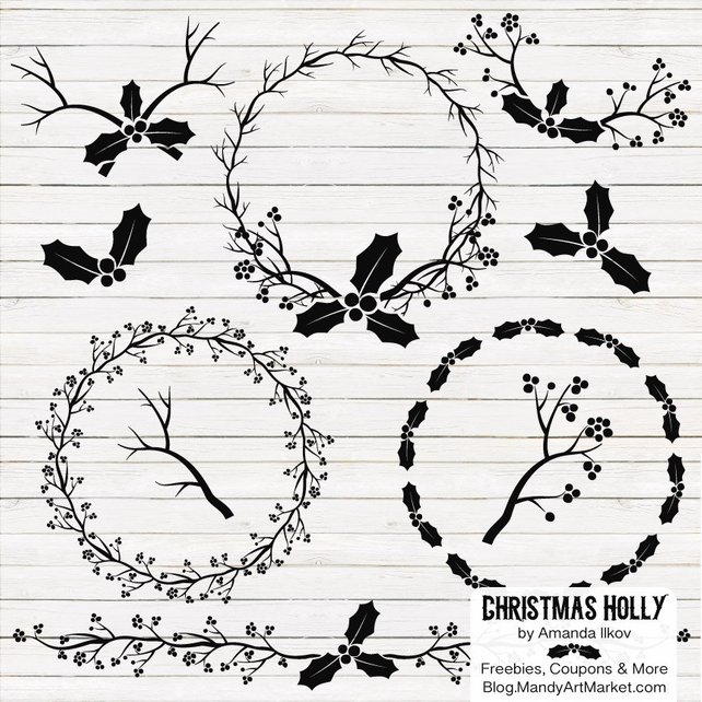 642x642 Professional Black Christmas Holly Clipart Amp Holly Vector Set Etsy