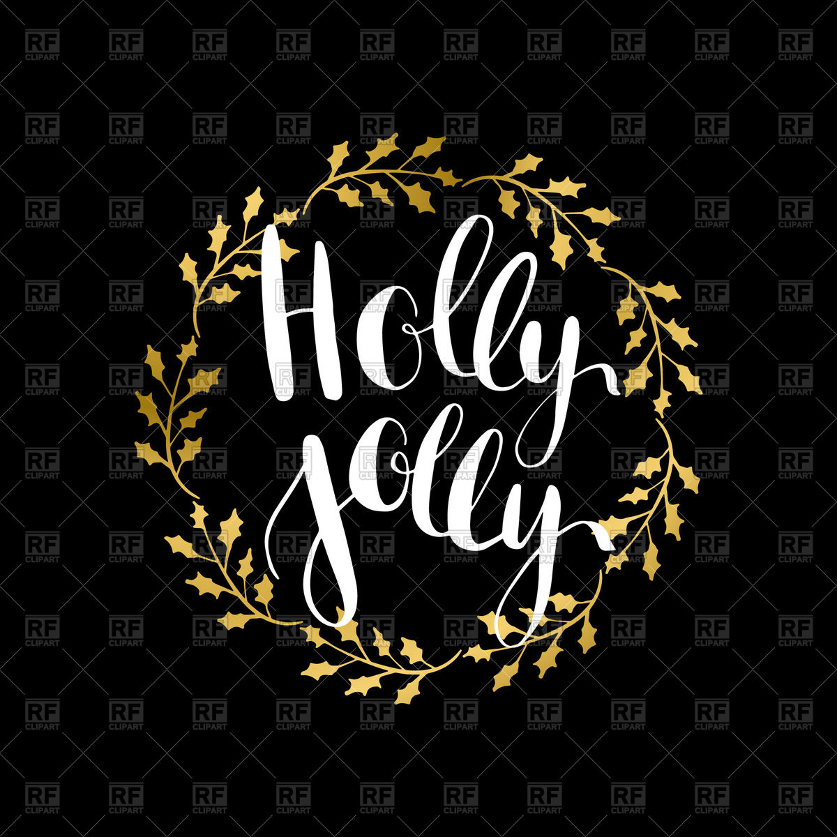 1200x1200 Inscriotion Holly Jolly Inside Golden Holly Wreath Vector Image