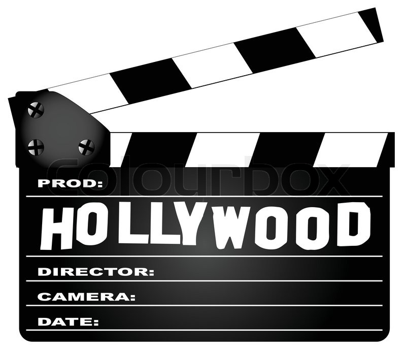 800x697 A Typical Movie Clapperboard With The Legend Hollywood Isolated On