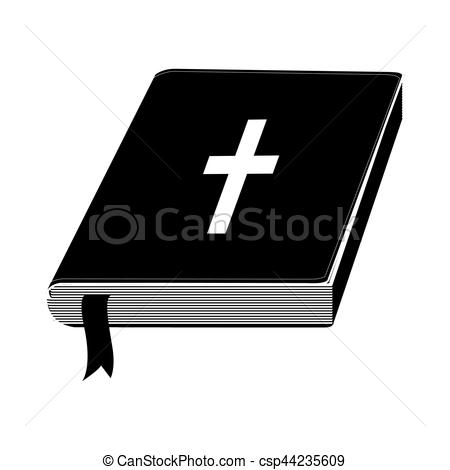 450x470 Monochrome Silhouette With Holy Bible With Ribbon Vector Illustration.