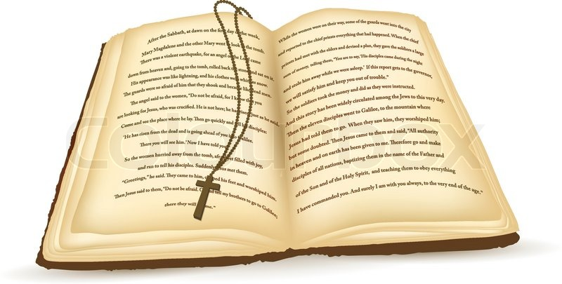 800x405 Old Open Bible With Cross Over White Background Stock Vector