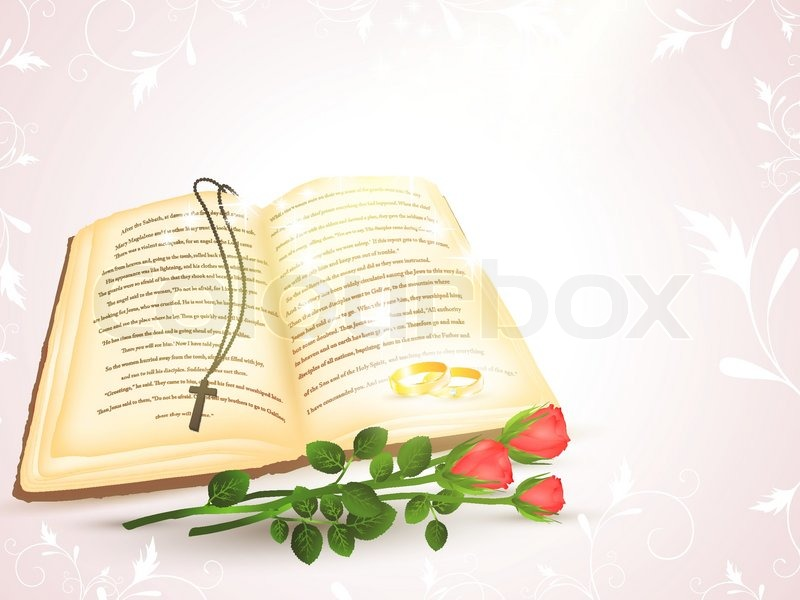 800x600 Wedding Theme With Opened Bible, Golden Rings And Roses Stock