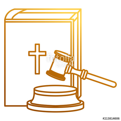 500x500 Justice Hammer With Holy Bible Vector Illustration Design Stock