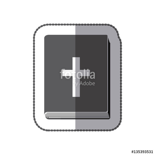 500x500 Middle Shadow Sticker Grayscale With Holy Bible Vector
