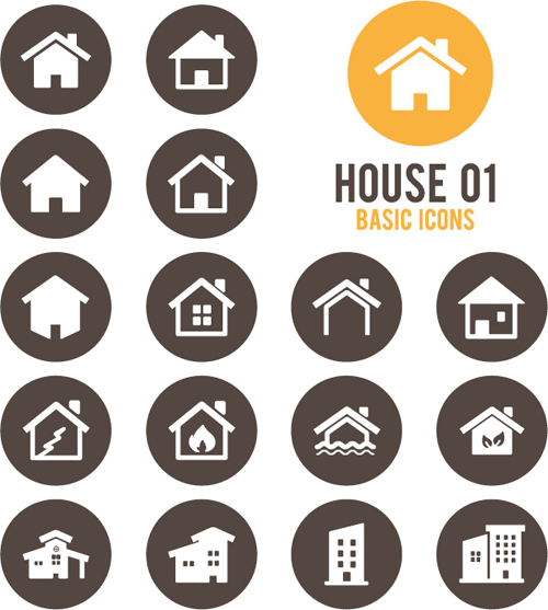 500x557 Round Home Icons Vector 01 Free Download