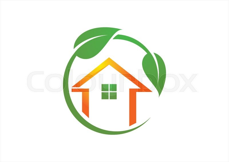 800x564 Shelter House And Circle Plants Logo Vector Illustration,home