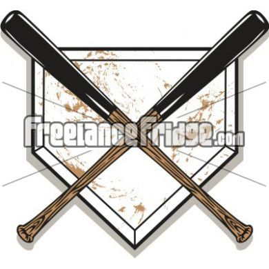 390x390 Baseball Bats Crossed Over Home Plate Vector Clipart Stock Artwork