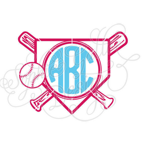 570x570 Home Plate Baseball Monogram Svg, Dxf Digital Download Files For