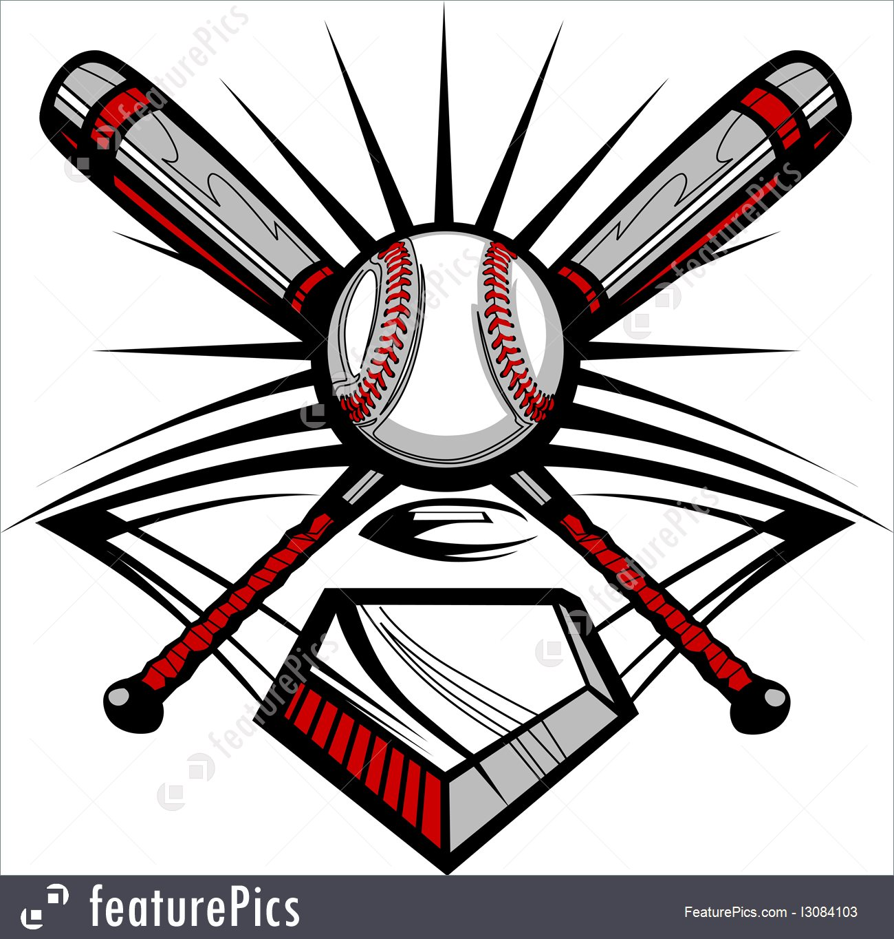 1300x1364 Illustration Of Baseball Or Softball Crossed Bats With Ball