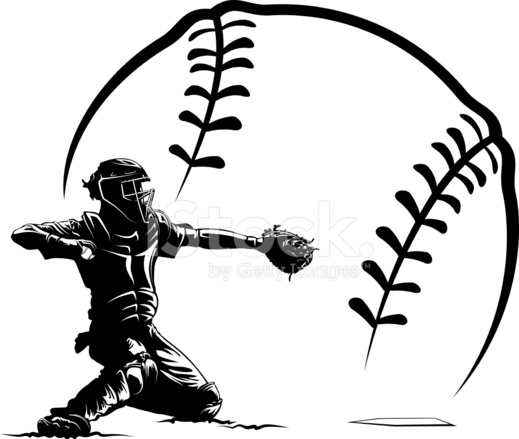 519x439 Baseball Catcher At Home Plate With Stylized Ball Stock Vector