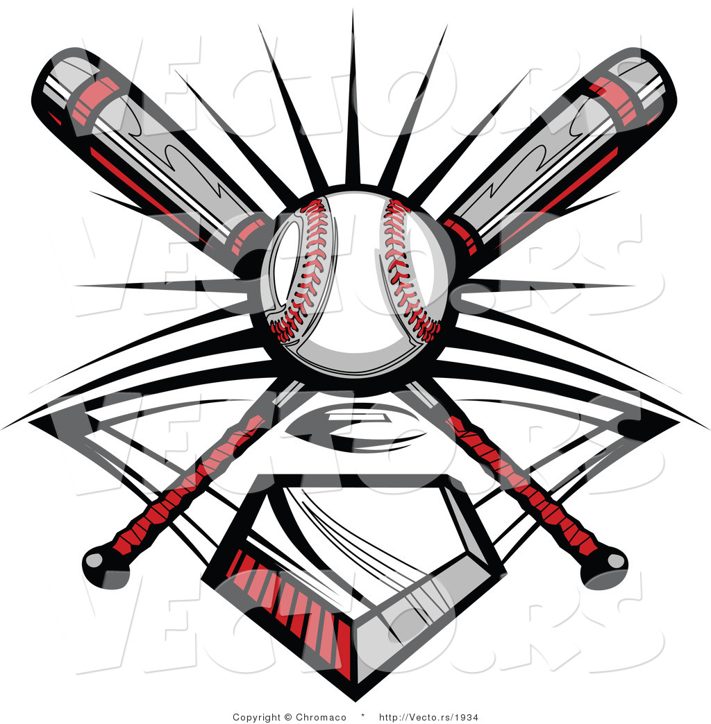 1024x1044 Vector Of A Ball And 2 Baseball Bats Crossed Over Home Plate By