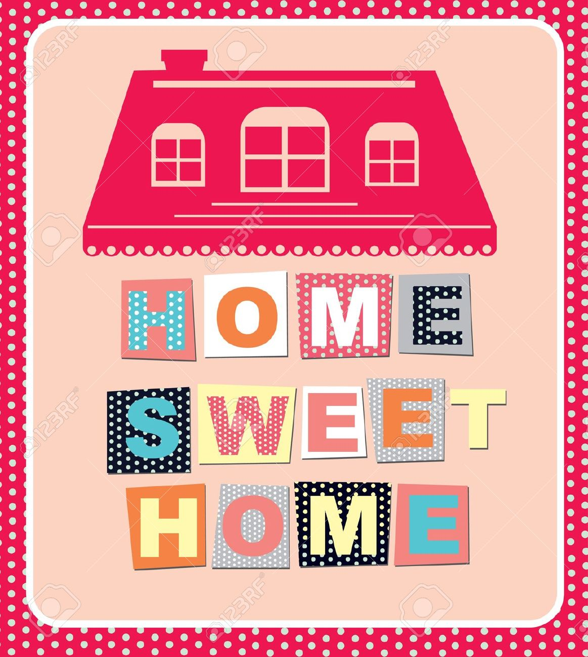 1163x1300 20196420 Home Sweet Home Card Vector Illustration Stock Vector