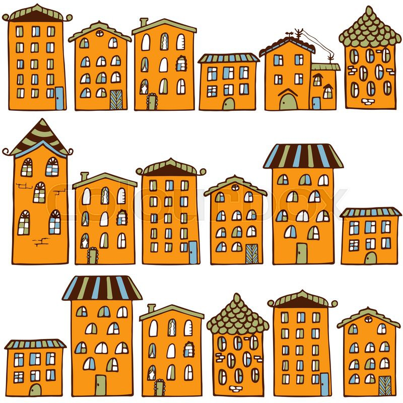 800x800 Cute Seamless Pattern With Houses. Home Sweet Home. Vector