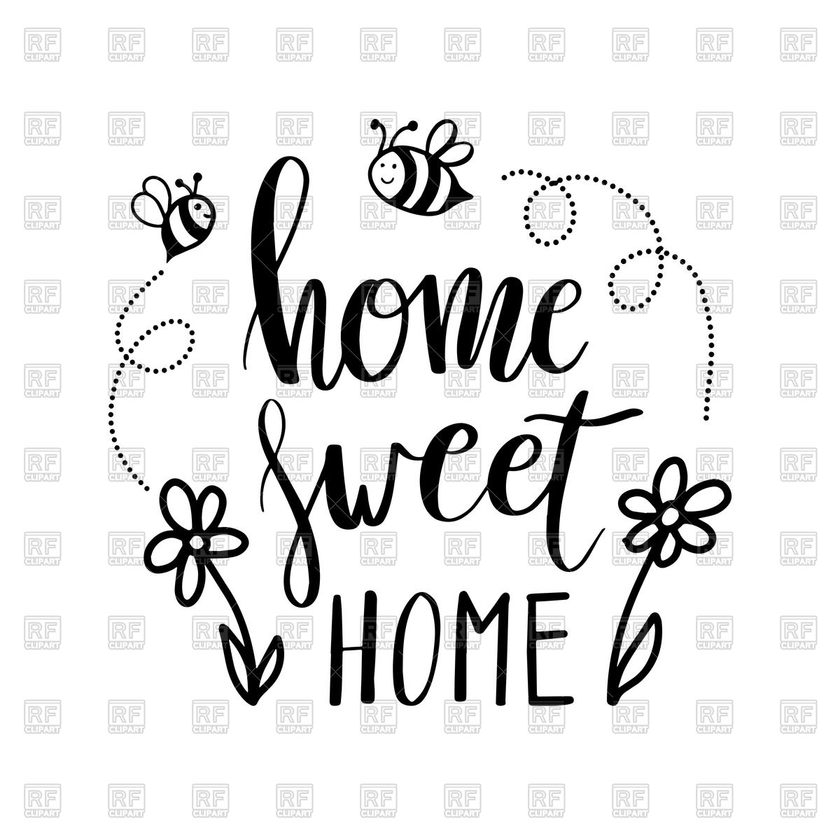 1200x1200 Hand Lettering Typography Poster Home Sweet Home Vector Image