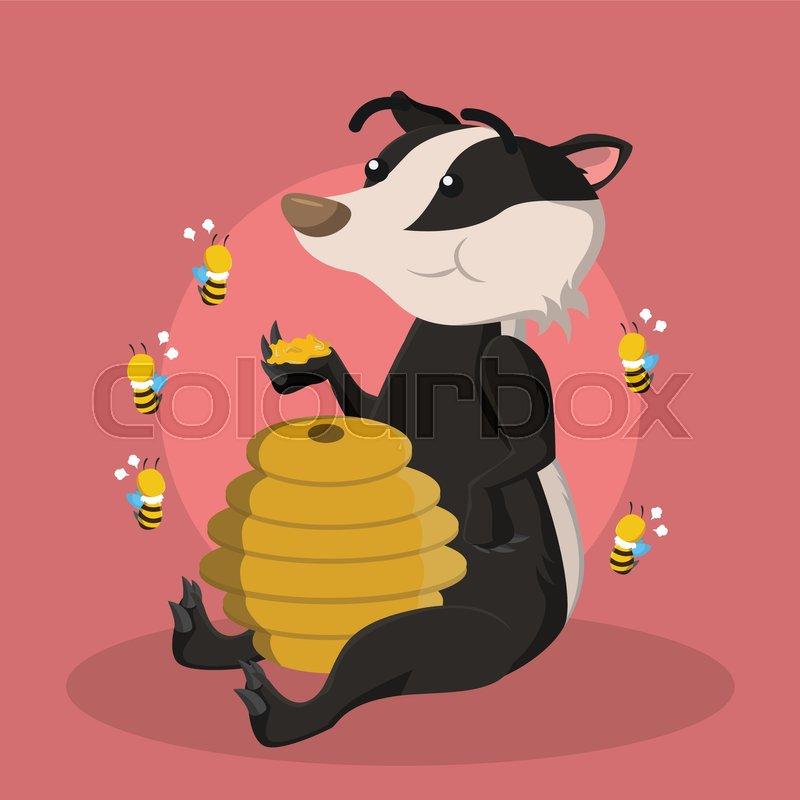 800x800 Honey Badger Eating Honey Stock Vector Colourbox