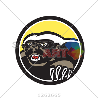 340x340 Stock Illustration Of Vector Black Honey Badger Head With Claws
