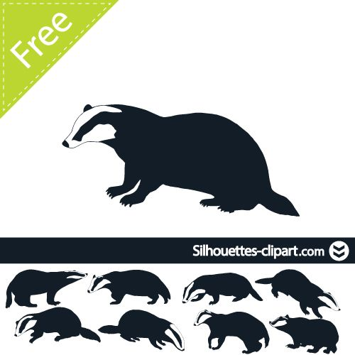 500x500 Badger Vector Silhouette Silhouettes Clipart Silhouettes
