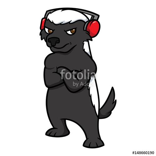 500x500 Cartoon Honey Badger Wearing Headphones Vector Illustration Stock