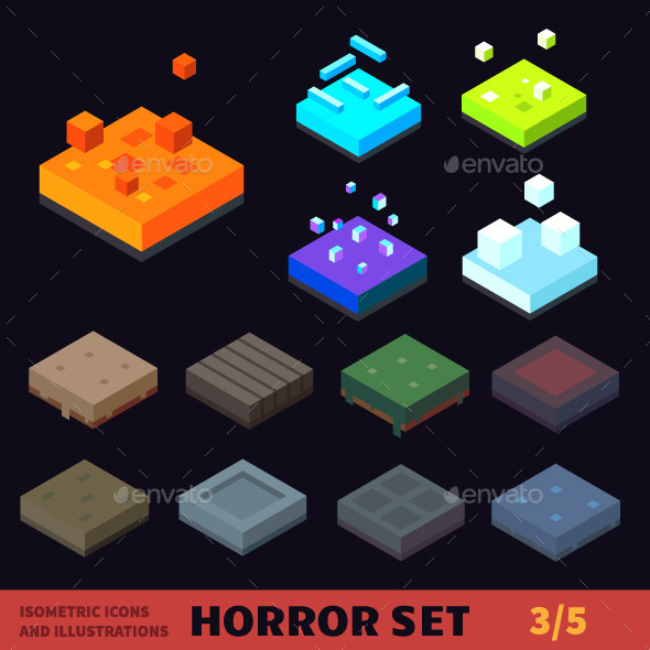 590x590 Isometric Horror Vector Tile Set By Tastyvector Graphicriver