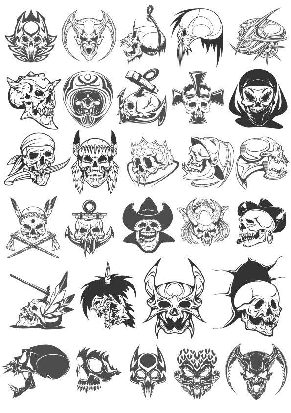 595x842 Skull Horror Vector Set Free Vector Download