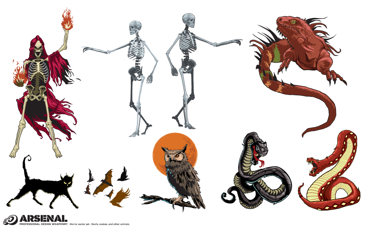 1270x770 Snakes And Skulls Halloween Vector Pack By Go Media