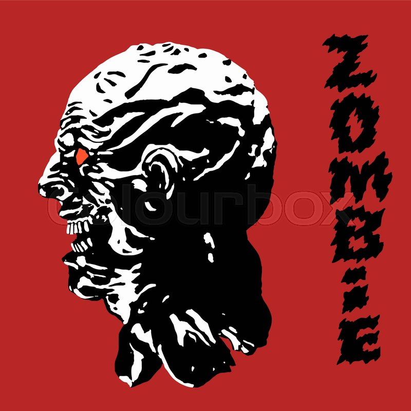 800x800 The Scary Black Zombie Face. Vector Illustration. Danger Monster