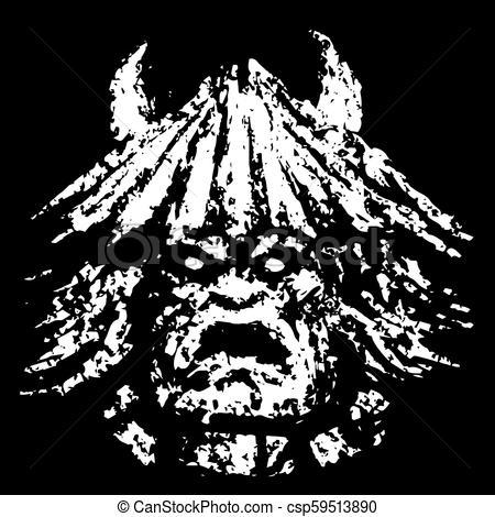 450x470 Grim Demon Face. Genre Of Horror. Vector Illustration. Grim Demon
