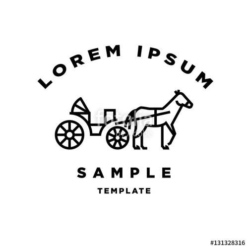 500x500 Horse Carriage Minimal Sign Vector Design Stock Image And Royalty