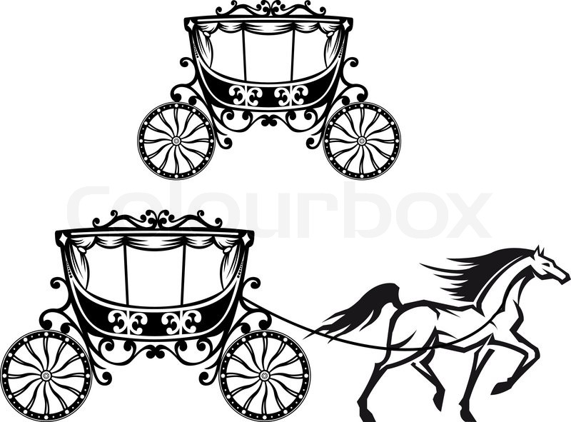 800x591 Horse With Old Carriage Stock Vector Colourbox