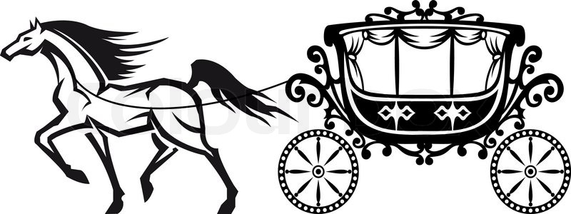 800x300 Horse With Vintage Carriage Stock Vector Colourbox