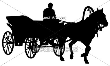 380x228 Silhouette Horse And Carriage With Coachman Vector Illustration