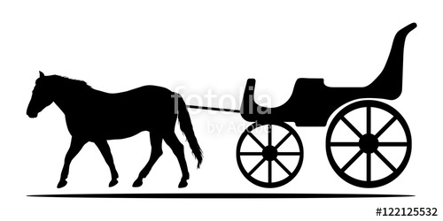 500x250 Silhouettes Of Horse And Carriage. Vector Illustration. Stock