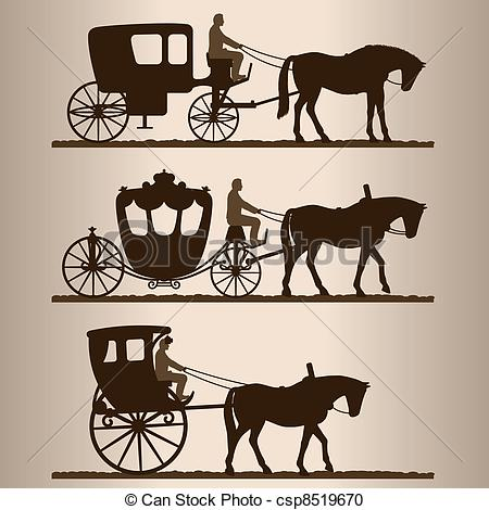 450x470 Silhouettes Of The Carriages. Silhouettes Of Horse Drawn Carriages