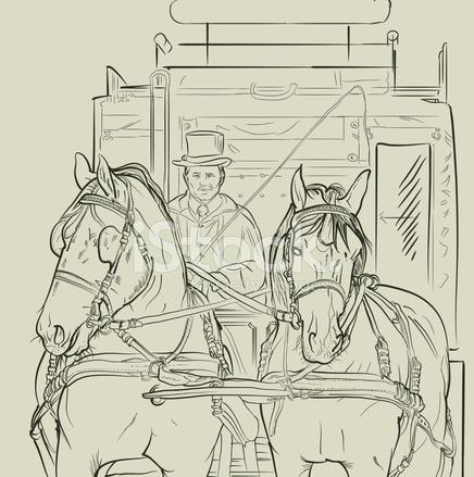 436x439 Vector Horse Carriage Stock Vector