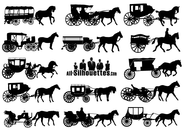 600x425 Vector Horse Drawn Carriage Silhouettes Free Vectors