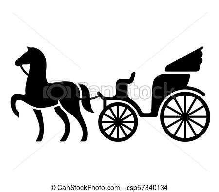 450x394 Vintage Horse Drawn Carriage. Stylized Silhouette Of Horse And