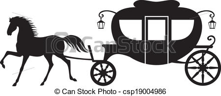 450x197 Carriage And Horse. Silhouette Image Horse Drawn Carriage Vector